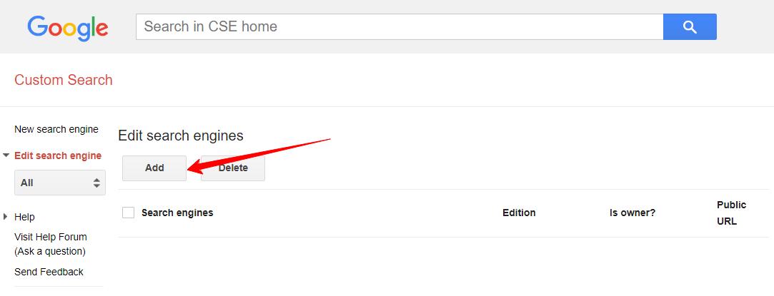 google cse edit search engine