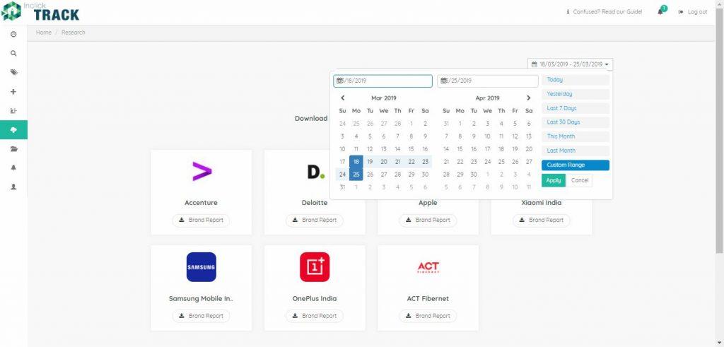 inclick track social media intelligence tool dashboard