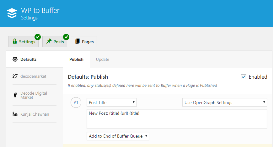 wp to buffer - wordpress social media plugin